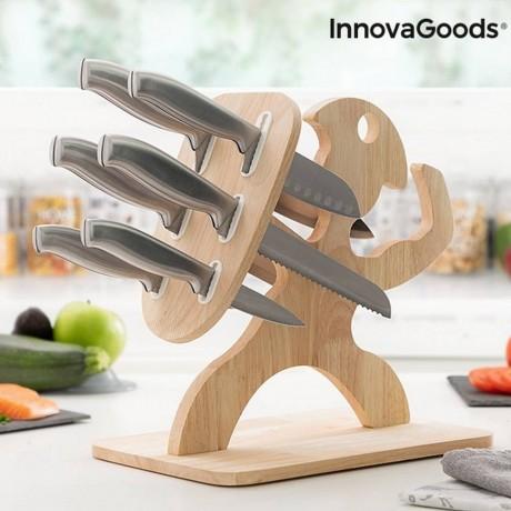 Комплект ножове с поставка от дърво Spartan от Innovagoods
