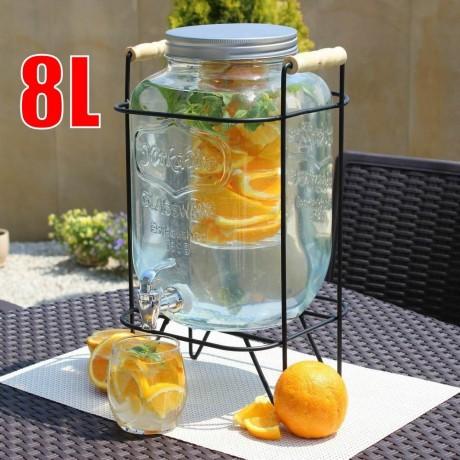 8 литра стъклен буркан с канелка на метална стойка