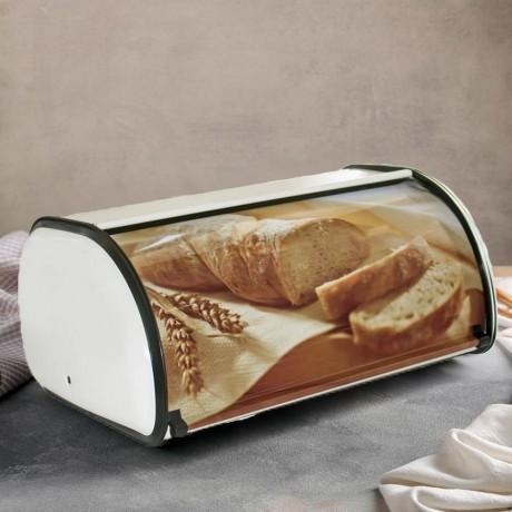 Метална кутия за хляб с въртяща вратичка и декор