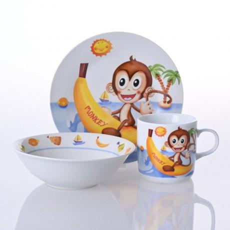 Детски сервиз за хранене от 3 части - маймунка