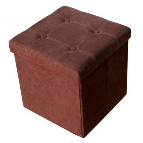 Сгъваема табуретка цвят велур-шоколад HOMA