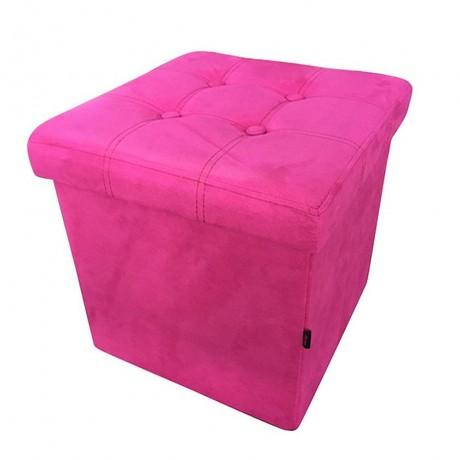 Сгъваема табуретка в цвят розов велур HOMA