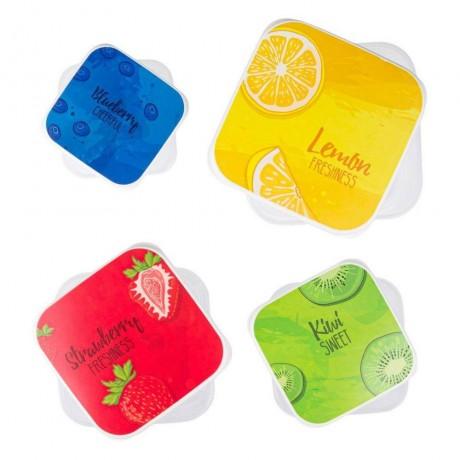 4 бр. различни по големина кутии за храна с плодов мотив