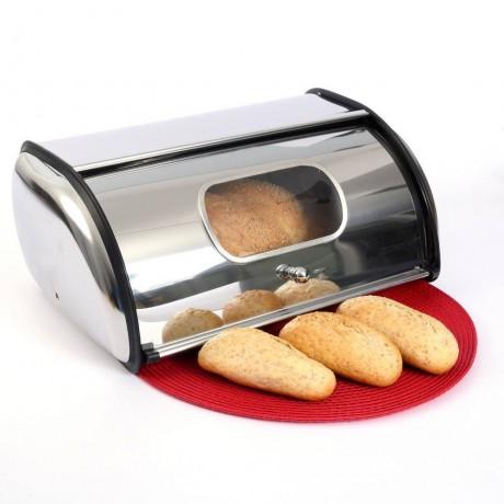 Малка кутия за хляб инокс с прозорец на вратичката