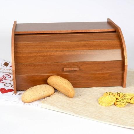 Дървена кутия за хляб с ролетна вратичка