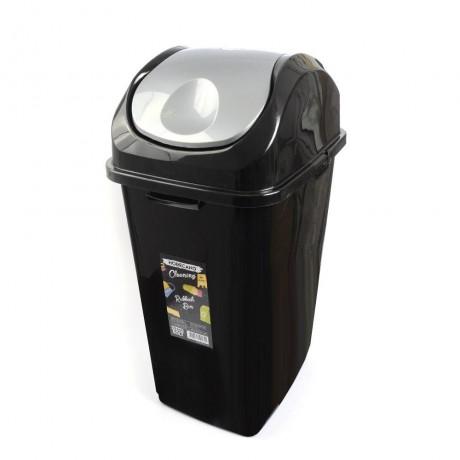 50 л черно кошче за отпадъци с люлеещ сив капак HORECANO