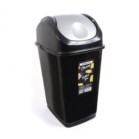 35 л черно кошче за отпадъци с люлеещ сив капак HORECANO