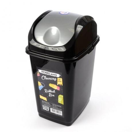 10 л черно кошче за отпадъци с люлеещ сив капак HORECANO