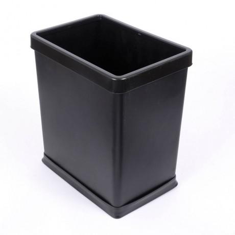 8 л правоъгълен черен кош за смет с подвижен ринг за офис или хотелска стая