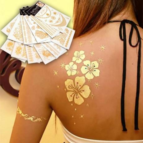 2 блистера златни татуировки за цялото тяло