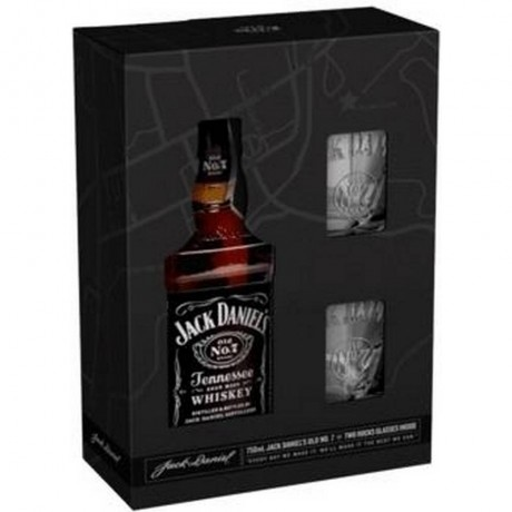 Уиски Джак Даниелс 0.7 л с 2 Чаши в Картонена Кутия