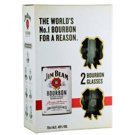 Уиски Джим Бийм 0.7 л с Две Чаши