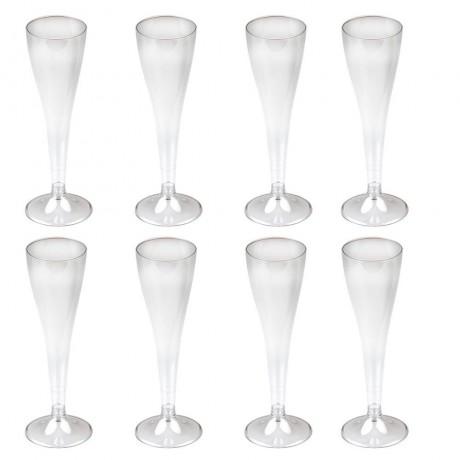 8 бр. пластмасови чаши за шампанско за еднократна употреба 120 мл