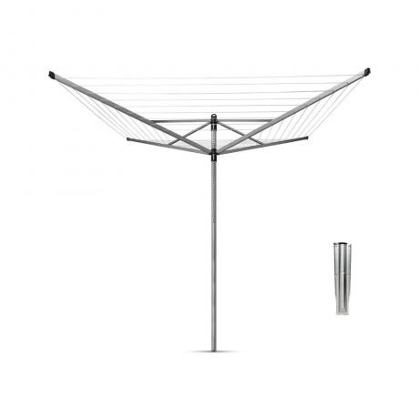 60 м метално сив въртящ се простор с метален шиш Brabantia от серия LIFT-O-MATIC
