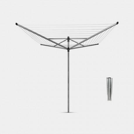 50 м метално сив въртящ се простор с метален шиш Brabantia от серия LIFT-O-MATIC