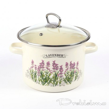 18 см емайлирана тенджера със стъклен капак IDILIA разцветка Lavender