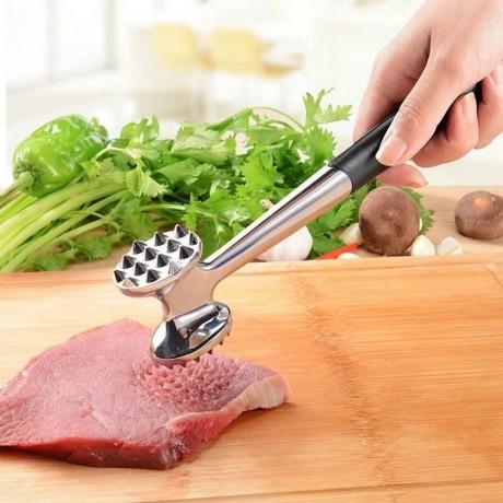 Двустранен метален чук за месо с гумирана дръжка SHENGYA