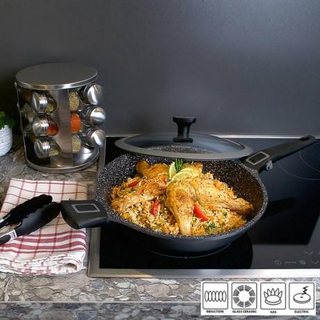 Купи 28 см тиган за готвене с две делими дръжки и стъклен капак