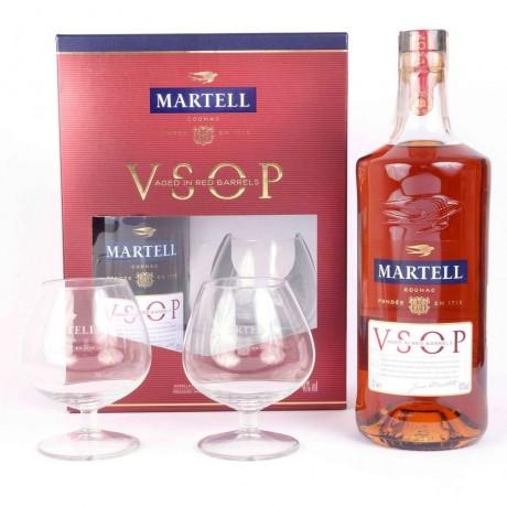 Комплект коняк Martell VSOP с 2 чаши 4 години отлежалост 0,7 л 40%