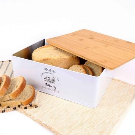 Метална кутия за хляб с капак от бамбук