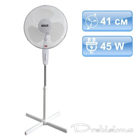 41 см бял вентилатор стойка MUHLER
