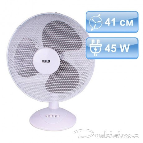 41 см голям настолен вентилатор в бял цвят с три скорости MUHLER