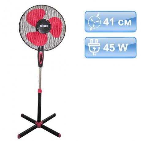 41 см вентилатор в цвят черно и червено на стойка MUHLER