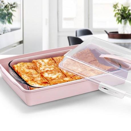 39 х 26 см правоъгълна кутия за съхранение и пренасяне на сладкиши, баници, торти и други