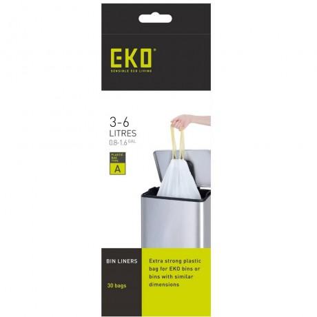3 - 6 л бели торбички за смет с връзки 30 бр EKO размер A