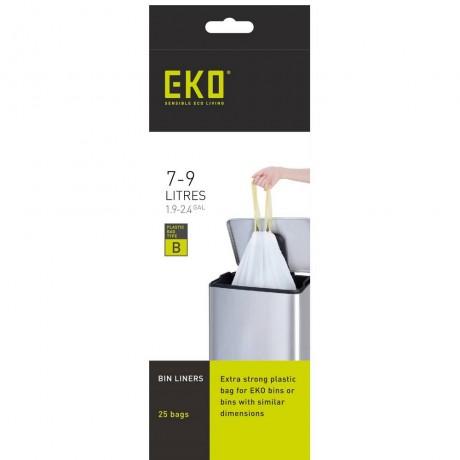 7 - 9 л бели торбички за смет с връзки 25 бр EKO размер B