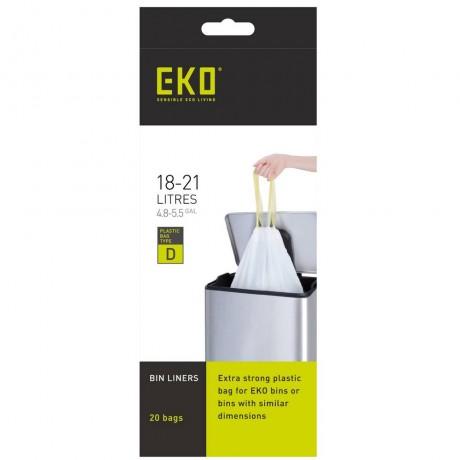 18 - 21 л бели торбички за смет с връзки 20 бр EKO размер D