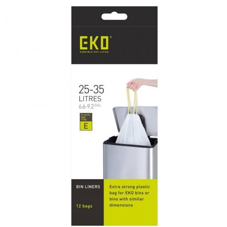 25 - 35 л бели торбички за смет с връзки 12 бр EKO размер E