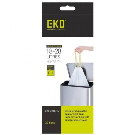 18 - 28 л бели торбички за смет с връзки 20 бр EKO размер F1