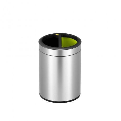 2 х 5 л отворен кош за разделно събиране матиран инокс EKO от серия ROUND