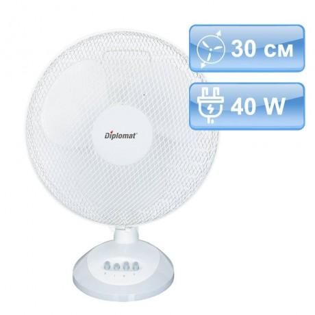 30 см настолен вентилатор в бял цвят с три степени Diplomat