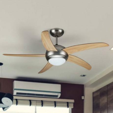 132 см таванен вентилатор с 5 перки от MDF, две осветителни тела и дистанционно V-TAC