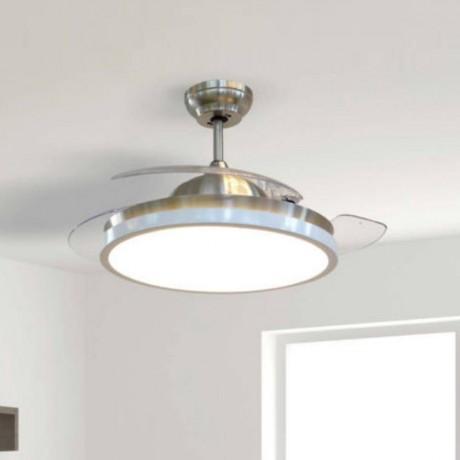 107 см таванен вентилатор с голямо LED осветително тяло, 3 перки от пластмаса и дистанционно V-TAC