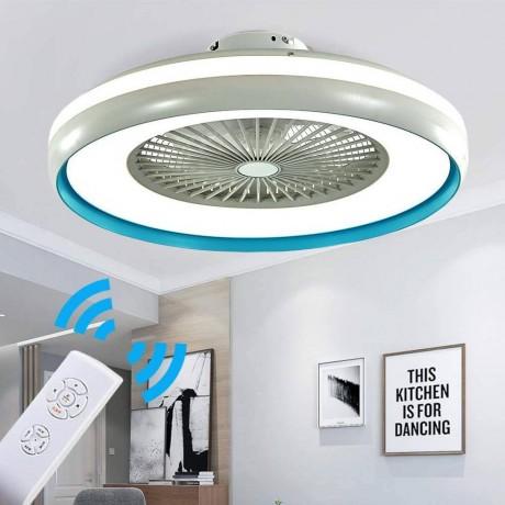 60 см таванен вентилатор със син ринг 35W LED осветително тяло и дистанционно V-TAC