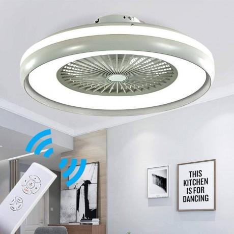 60 см таванен вентилатор със сив ринг 35W LED осветително тяло и дистанционно V-TAC