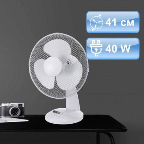 41 см бял настолен вентилатор с три скорости на въртене V-TAC
