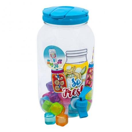 3,8 литра пластмасов диспенсър с дръжка, канелка и охлаждащи кубчета