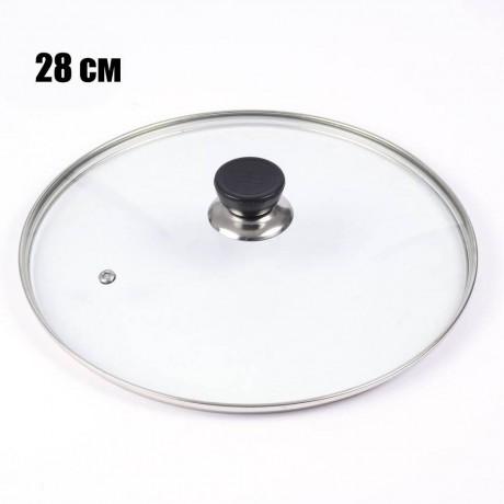28 см стъклен капак с отвор за пара и кант от неръждаема стомана