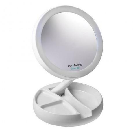 Сгъваемо козметично огледало с LED осветление и малък органайзер INNOLIVING