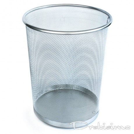 20 л метално сребристо сиво плетено кошче за боклук подходящо за офис