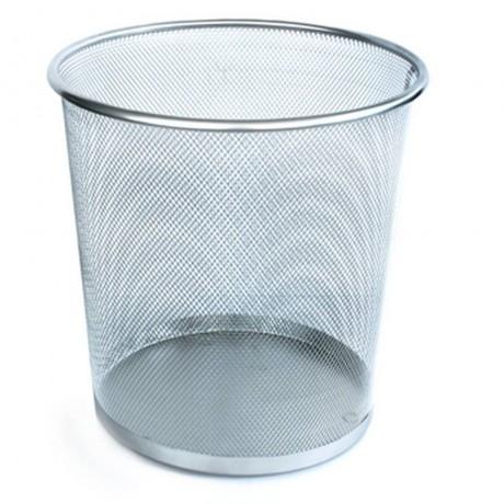 13 л метално сребристо сиво плетено кошче за боклук подходящо за офис