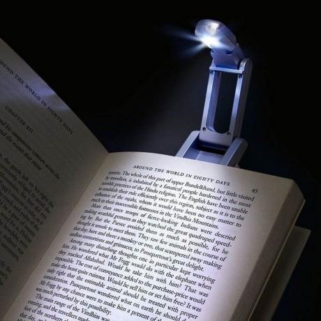 Щипка с лампичка за четене на книги