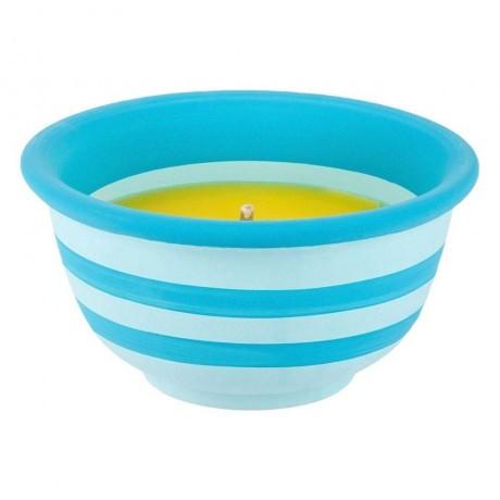 Голяма цитронелена свещ в керамична саксия на сини ивици