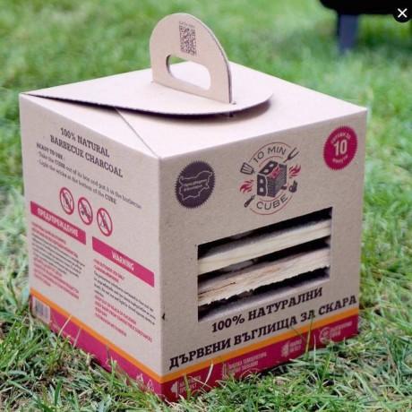 Куб с разпалки и дървени въглища за барбекю 10minBBQ