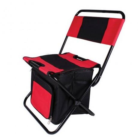 Къмпинг стол Muhler с хладилна чанта, червен