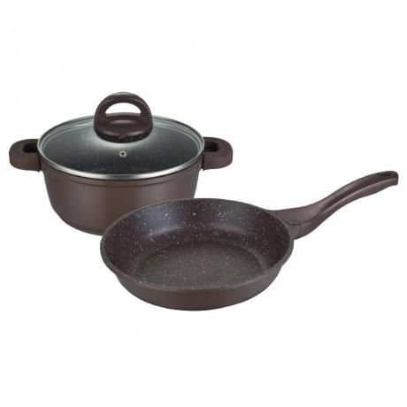 Комплект съдове за готвене Muhler MR-3049 3 части, шоколад, лят алуминий